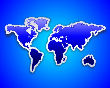 wanderlust: World Map Blue Sticker on Blue Background Illustration