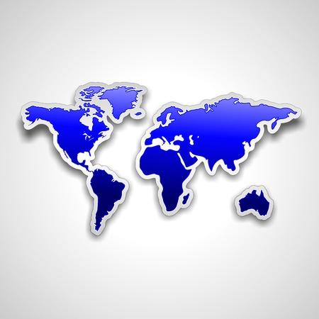 wanderlust: World Map Blue Sticker on White Background