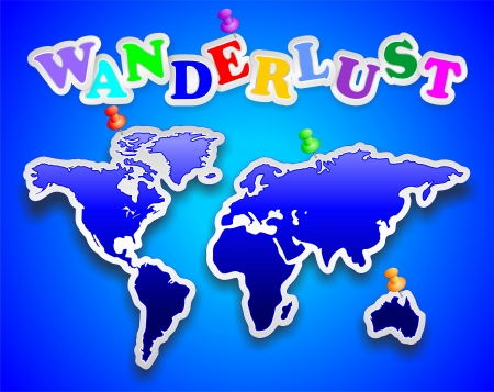 wanderlust: World Map Blue Sticker Wanderlust Illustration