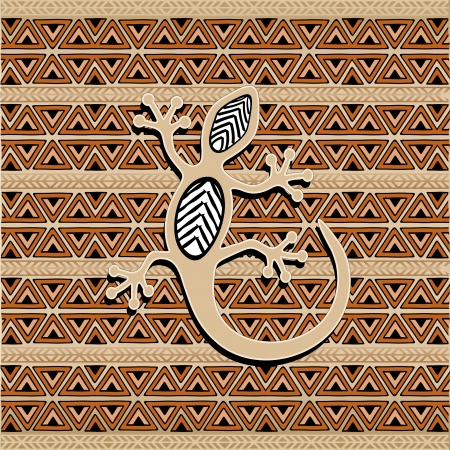 Africa Ethnic Art Pattern Texture with Gecko Stock Vector - 19872111