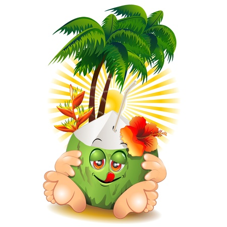 Green Coconut Cartoon Character and Palm Trees Vector