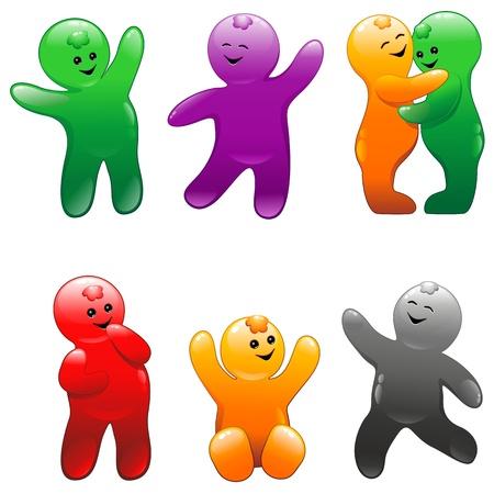 Jelly Babies Rainbow Colors Flavors Illustration