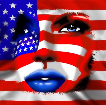 губы: Звезды и полосы флага США на портрет девушки