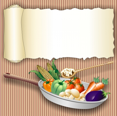 vegetable cook: Food on torn Paper Roll Poster