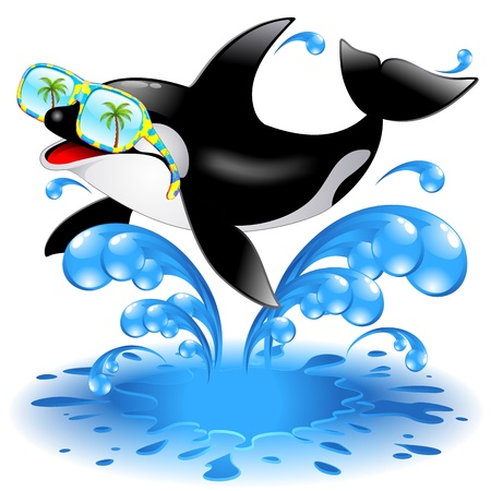 orcinus: Jumping Killer Whale Cartoon with Sunglasses Illustration