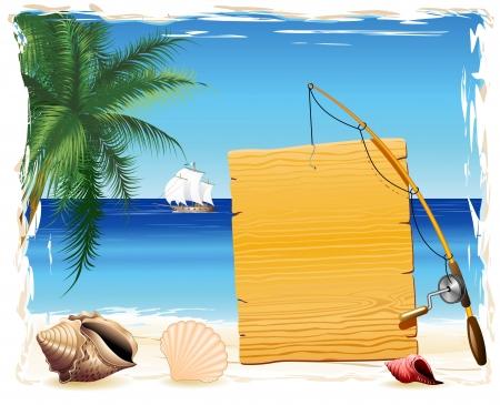 canna pesca: Pannello in legno e canna da pesca sulla spiaggia tropicale