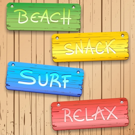 Beach Surf Relax Wooden Panels Illustration