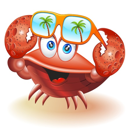 sunglasses reflection: Crab Cartoon with Sunglasses