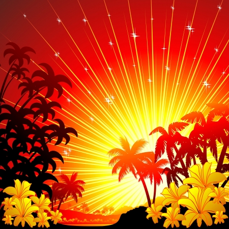 beautiful red hibiscus flower: Red and Golden Sunset on Tropical Seascape
