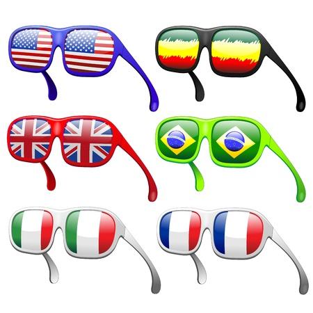 rasta colors: Flags on Summer Fashion Sunglasses Illustration