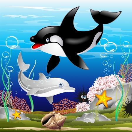 Delfines y Cartoon Whale Killer on the Ocean Foto de archivo - 20282320