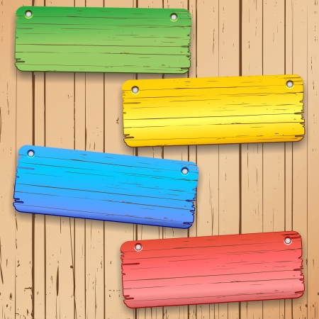 Colorful Panels on Wooden Wall Stock Vector - 20282324