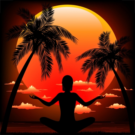 tree position: Zen Meditation on Peaceful Tropical Sunset