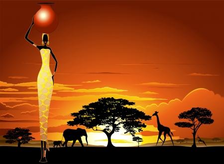 明るいサバンナ日没のアフリカの女性