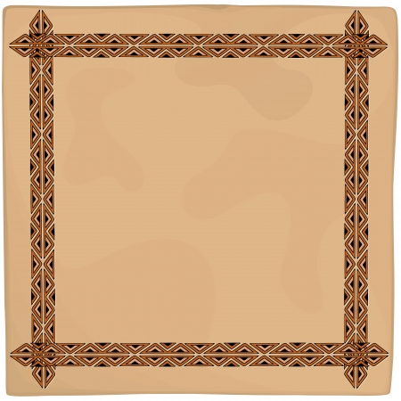 Leather Ethnic Art Frame Background Stock Vector - 20282344
