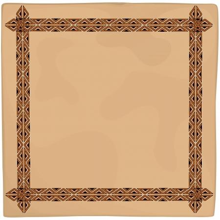 Leather Ethnic Art Frame Background Stock Vector - 20282344