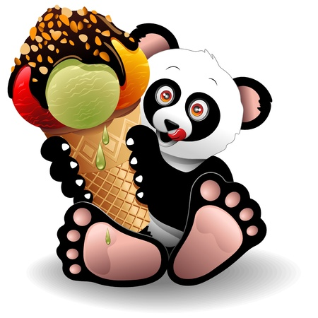 kids eating: Panda Cartoon with Big Ice Cream