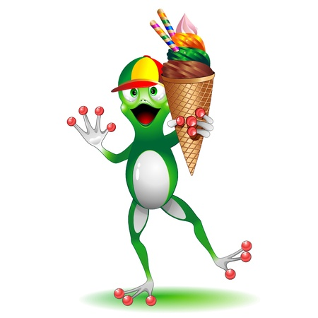 Funny Frog Cartoon with big Ice Cream Vector