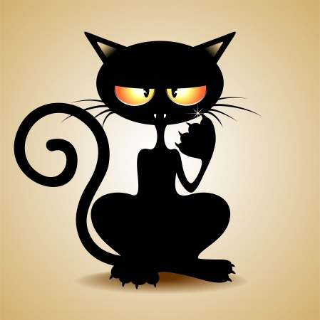 Grumpy Black Cat Cartoon Vector