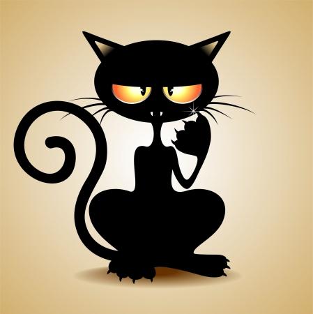 Grumpy chat noir de dessin animé