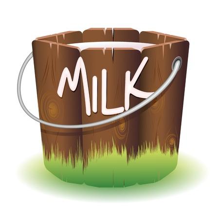 nutritive: Bucket of Cow Milk Illustration