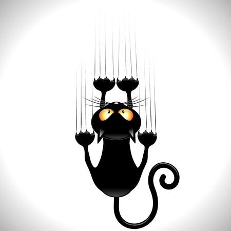 cat illustration: Black Cartoon Scratching Wall Illustration