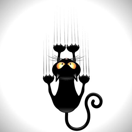 wiedźma: Czarny Cartoon Drapanie Mur Ilustracja