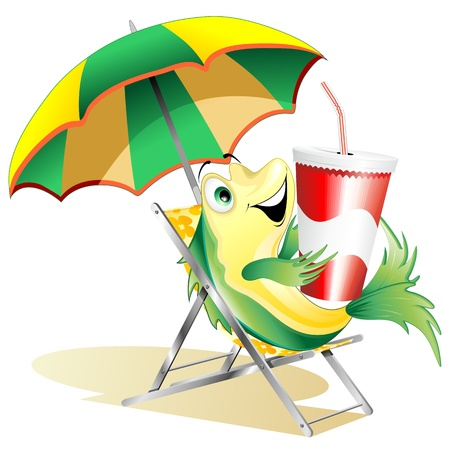 Vis Cartoon met drank op Paper Cup