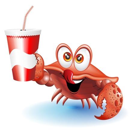 cangrejo caricatura: Cartoon Crab con la bebida en la taza de papel con la paja