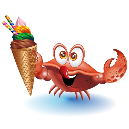marine crustaceans: Crab Cartoon with Ice Cream