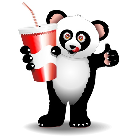 Panda Cartoon with Drink on Paper Cup with Straw Stock Vector - 20913345