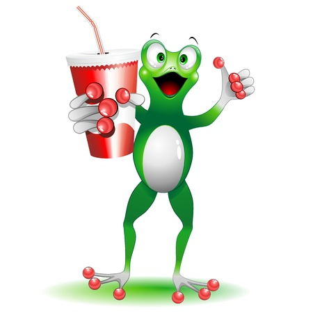 cocacola: Frog Cartoon with Drink on Paper Cup with Straw Illustration