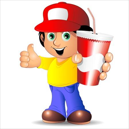 Cartoon jongen met drank op Paper Cup met stro