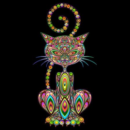 猫サイケデリック アート デザイン  イラスト・ベクター素材