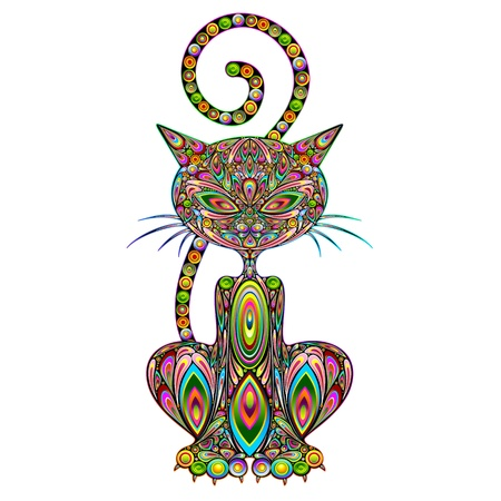 Cat Psychedelic Art Design Иллюстрация