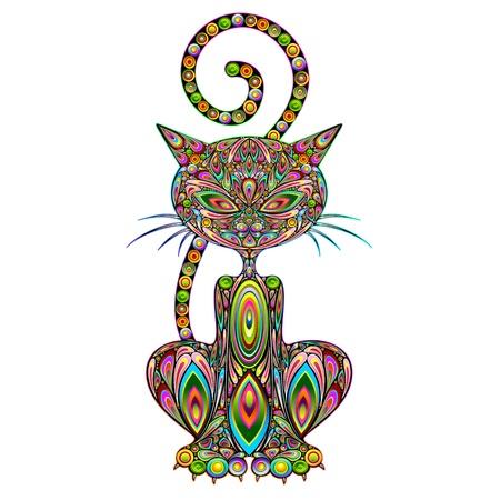Cat Psychedelic Art Design Vettoriali