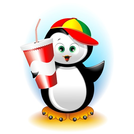 Penguin Cartoon with Drink on Paper Cup Vector