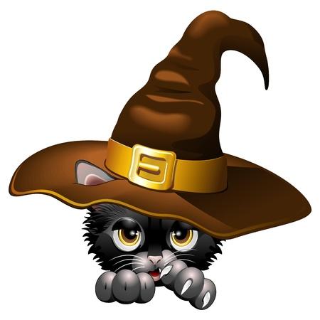 chaton en dessin anim�: Black Kitten bande dessin�e avec le chapeau de sorci�re