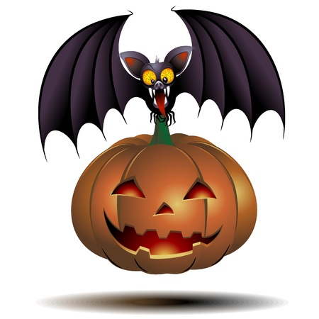 Halloween Bat Cartoon holding a Laughing Pumpkin