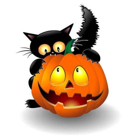 demonio: Gato de la historieta de Halloween que muerde una calabaza
