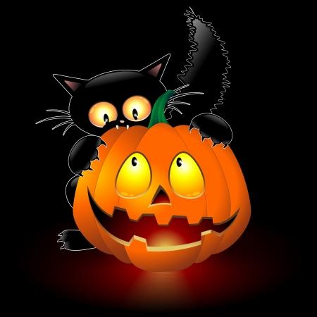 grisly: Halloween Cat Cartoon biting a Pumpkin