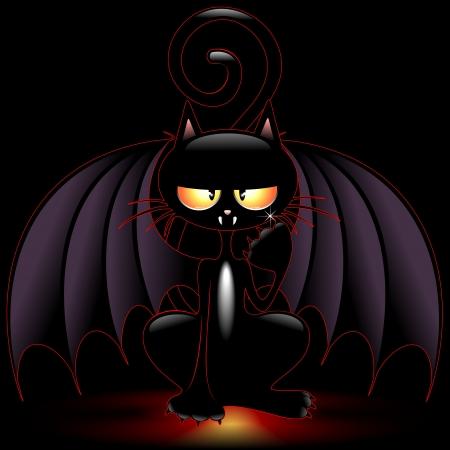 Halloween Bat Cat Funny Cartoon Vector