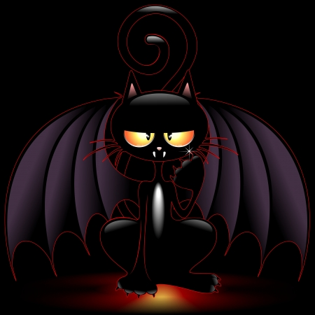 grisly: Halloween Bat Cat Funny Cartoon Illustration
