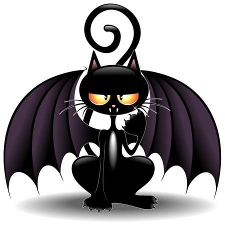 ハロウィーン バット猫面白い漫画  イラスト・ベクター素材