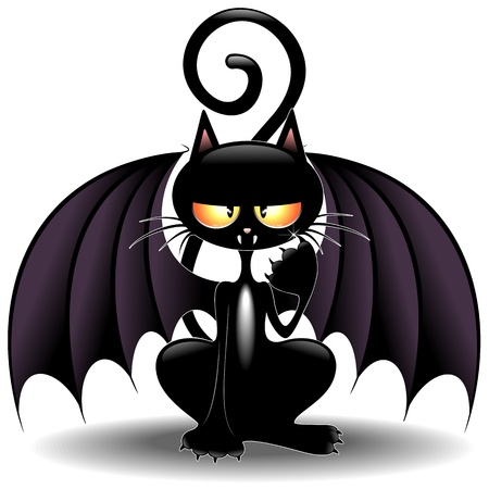 chauve souris: Halloween Bat Cat dr�le de bande dessin�e Illustration