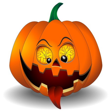 Funny and Scary Halloween Pumpkin Cartoon Vector