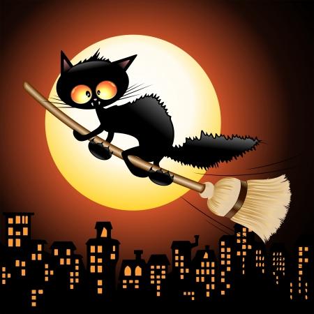 Zwarte Kat van Halloween Cartoon Vliegende Heks op Bezem Stock Illustratie