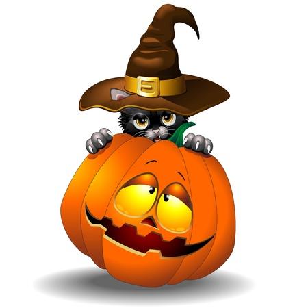 Halloween Black Kitten Cartoon With Pumpkin Vector