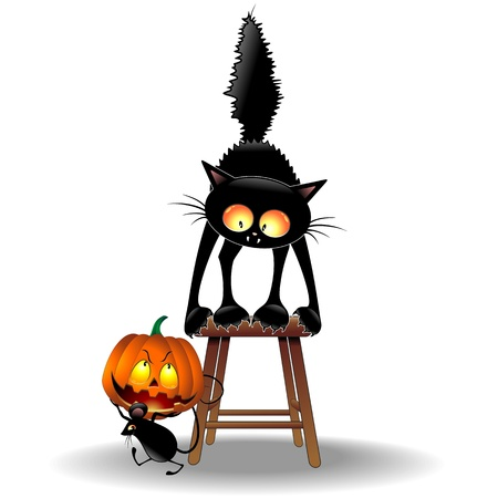 witch face: Scared Cat and Halloween Mouse with Pumpkin Illustration