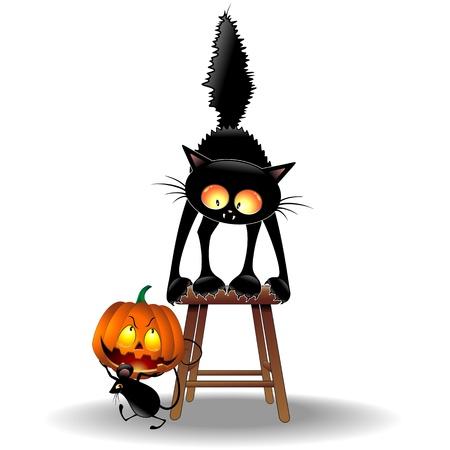 przerażający: Scared Cat and Mouse z Dynia Halloween Ilustracja